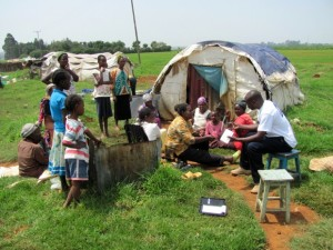 Several years after the post-election violence of 2007-2008, displaced people near Eldoret were still living in tent camps several years later.