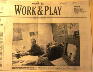A later newspaper article in the Durham Herald Sun about out LGBT employees in the work place featured blog author Stan Kimer while at IBM.