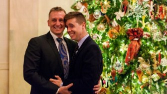 US Marine Corps Capt Matthew Phelps proposed to his boyfriend Ben Schock in the Grand Foyer of the White House (Credit: Mike Tapscott, American Military Partner Assoc.)