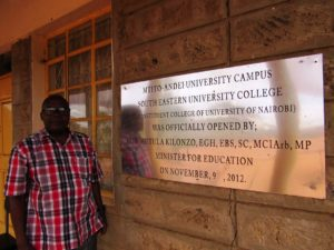It is a privilege to work with Rev. Michael Kimindu of Kenya who is tirelessly fighting corruption in Kenya.  Here he is in front of the Southeastern University College Mtito-Andei Campus, where he is making valuable community connections.