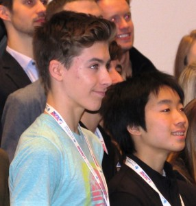 2016 US Figure Skating Nationals Novice Champion and subject of this blog Eric Sjoberg (left) and Junior Champion Tomoki Hiwatashi (right) at the Friends of Figure Skating breakfast following the competition.