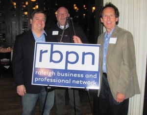 From left to right:  Patrick Rodriguez (meeting speaker), Ben Kittner (local entrepreneur), and blog author Stan Kimer gather before the March 11 RBPN meeting.  More info on people in photo bottom of the blog