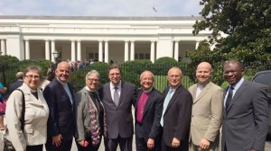 Supportive religious leaders gathering in the White House Garden after witnessing the signing of this historic executive order.  (Photo courtesy of Rev Rob Keithan)