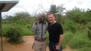 Global Roots Executive Director Rick Montgomery (right) with Kenyan project manager Ritchie Mutua