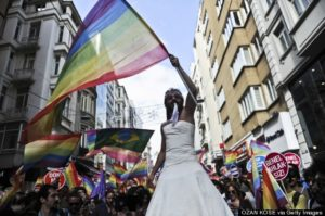 One of the largest gay pride parades in a predominantly Muslim country is in Turkey.         (Photo credit OZAN KOSE/AFP/Getty Images)