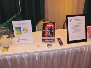 My display table in the vendor exhibition area of the Virginia State SHRM Conference