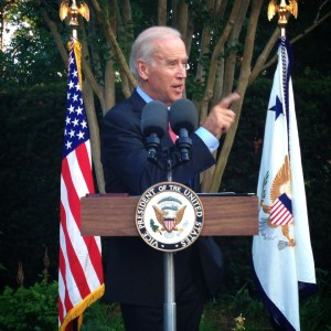 US Vice President Joe Biden references the historic USAID / NGLCC partnership at an LGBT Pride Month reception at his residence.