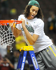 This year's first WNBA's draft pick Brittney Griner recently came out as a lesbian.  Here she is cutting down the nets after leading Baylor to their 2012 championship