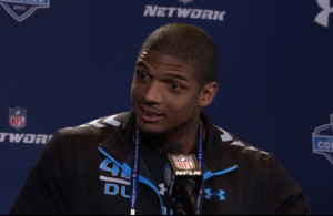 "Michael Sam was perhaps the most interviewed future pro football player at the February 22 press conference prior to the ""NFL Combine"" (photo from thenation.com)"
