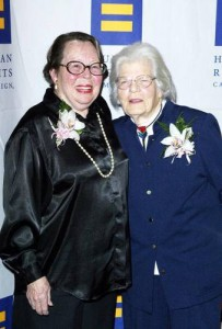 Photo:  Lesbian pioneer activists Del Martin and Phyllis Lyon who were partners for 56 years before Del passed away in 2008.
