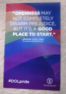 This year's US Dept of Labor LGBT Pride Month poster featuring a quote from out NBA basketball player Jason Collins.  (Link to my blog about Collins' coming out as gay)